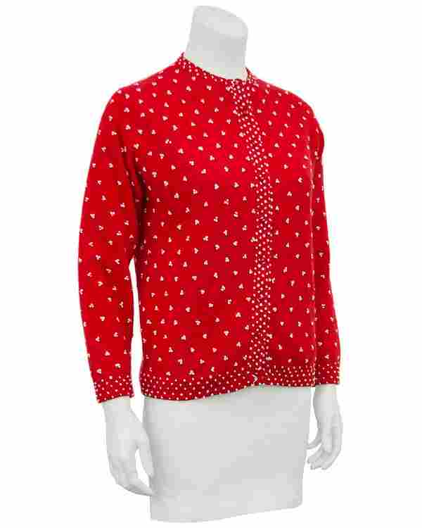 Anonymous Red Knit Cardigan with French Knot Details
