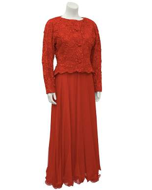 Scaasi Red Lace and Satin Gown With Jacket