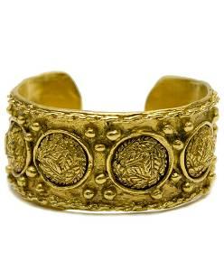 Chanel Gold Tone Leaf Motif Cuff
