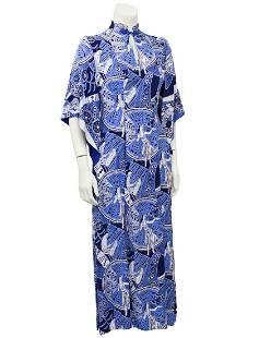 Anonymous Blue Hawaiian Print Rayon Hostess Gown
