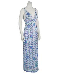 Emilio Pucci Blue and Purple Floral Print Nylon Slip