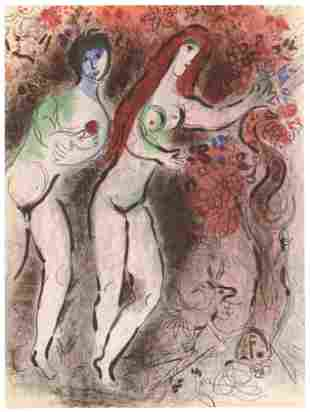 """Marc Chagall """"Adam and Eve and the Forbidden Fruit"""""""