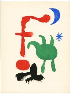 """Joan Miro original pochoir """"Femme et Oiseaux dans la"""