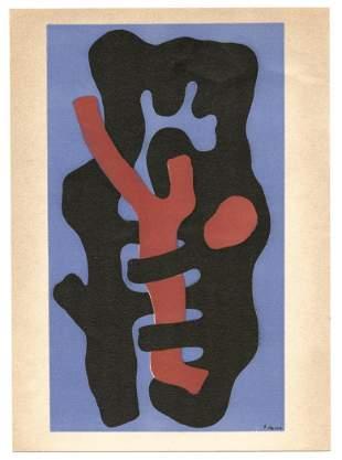 "Fernand Leger lithograph ""Elements sur un fond bleu"""