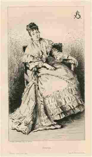"Alfred Stevens original etching ""Etude"""