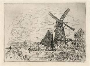 "Johan Barthold Jongkind original etching ""Near"