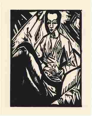 """Erich Heckel original woodcut """"Sick Girl"""" (Krankes"""