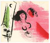 """Marc Chagall """"La Tour Eiffel verte"""" original lithograph"""