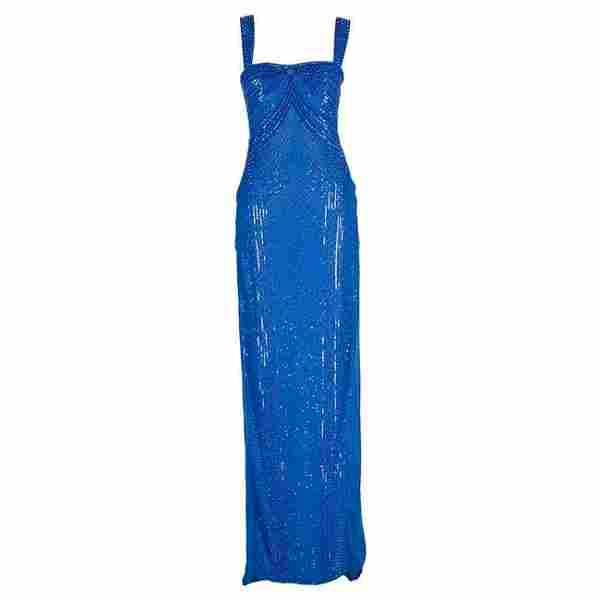 New Versace fully beaded embellished blue gown dress