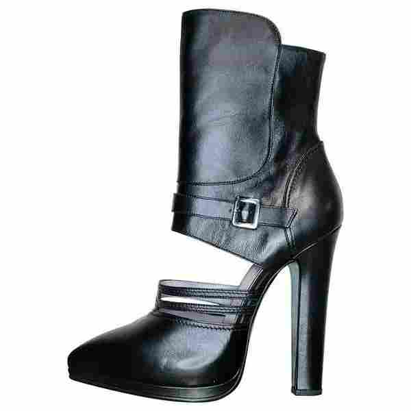 VERSACE BLACK LEATHER CUTOUT BOOTS with BLUE METALLIC