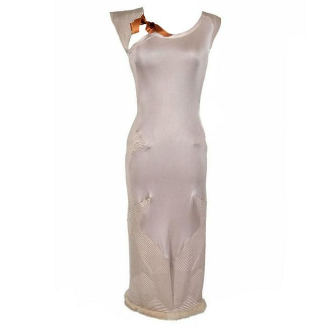TOM FORD for YVES SAINT LAURENT NUDE DRESS WITH MINK