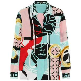 S/S 2015 look #27 NEW VERSACE PRINTED 100% SILK BUTTON