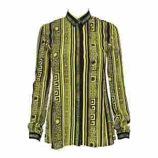 VERSACE #greek long sleeve silk shirt