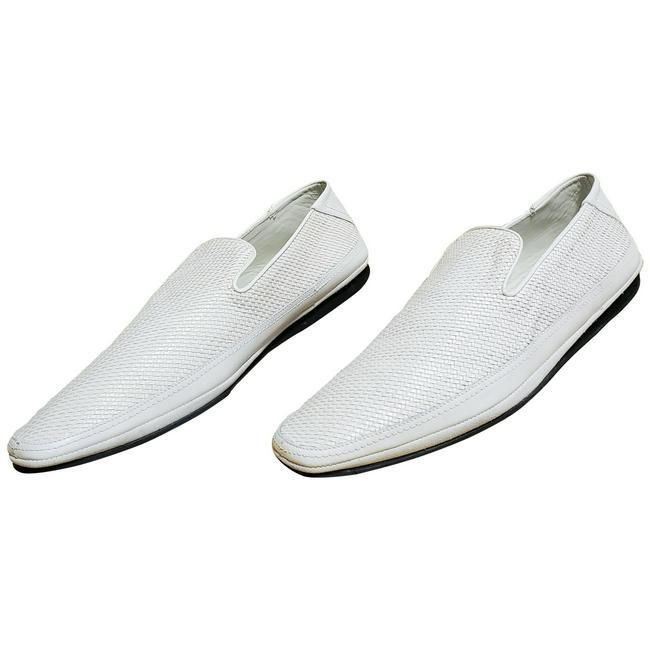 NEW VERSACE WHITE WOVEN LEATHER DRIVER Shoes
