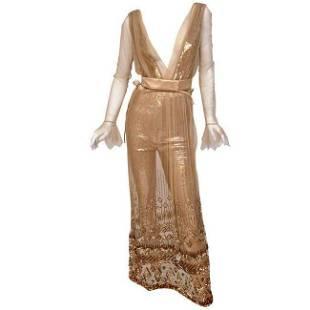 New TOM FORD NUDE EMBELLISHED CHIFFON DRESS w/ GOLD
