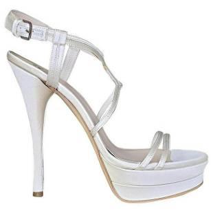 VERSACE WHITE SATIN PUMP PLATFORM Sandals