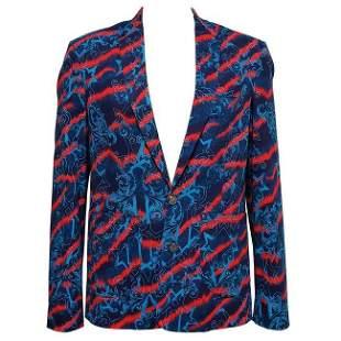 New Versace Jeans Printed Stretch Denim Blazer Jacket