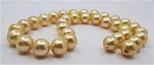 2x13mm Deep Golden South Sea Pearls - Necklace