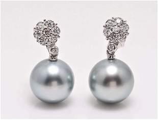 kt. White Gold - 12x13mm Round Tahitian Pearls -