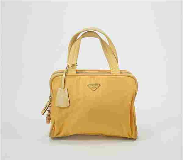 Prada Yellow Tessuto Top Handle Bag