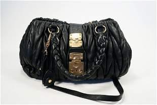 Miu Miu Leather Matelasse Black Tote