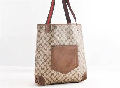 Gucci Sherryline Tote Bag PVC Brown