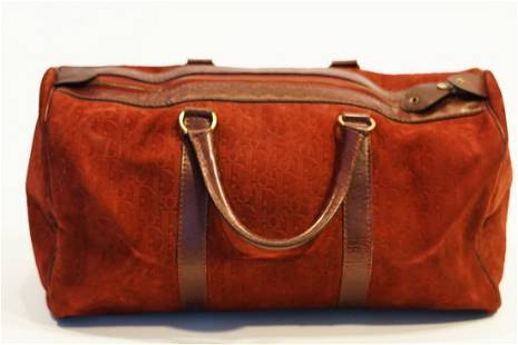 Christian Dior Suede Burgundy Travel Bag