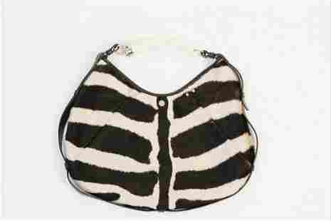 YSL Zebra Styled Calf Fur Handbag