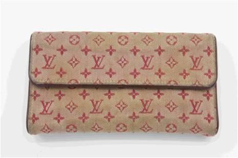 Louis Vuittion Red Canvas Monogram Wallet