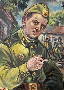 Oil painting Remembrance of the service Alexander