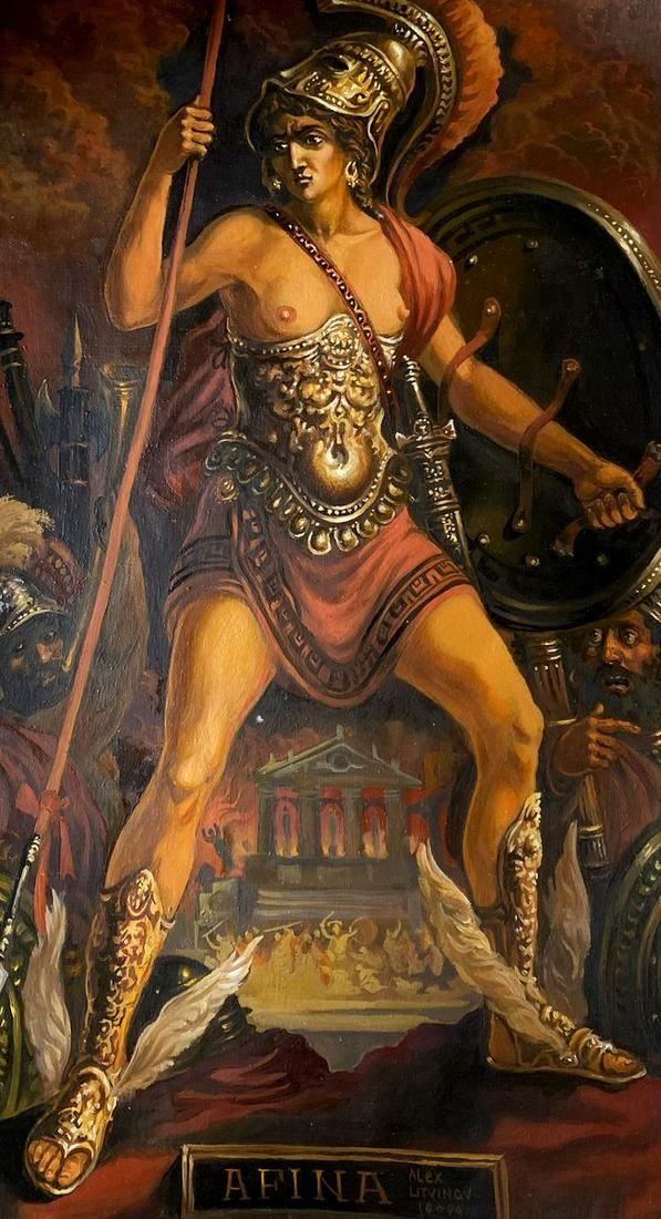 Oil painting Athena Alexander Arkadievich Litvinov
