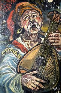 Oil painting Cossack with a bandura Alexander