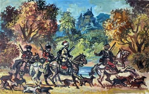 Oil painting Autumn hunt Alexander Arkadievich Litvinov