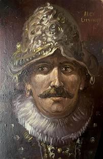 Oil painting Self-portrait in a helmet Alexander
