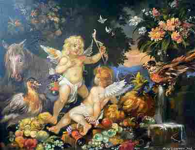 Oil painting Cupids and Pegasus Alexander Arkadievich