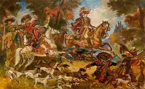 Oil painting Hunting Alexander Arkadievich Litvinov