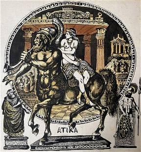 Watercolor painting Antique motive Alexander