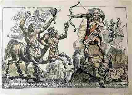 Ink painting Battle of Hercules with the centaurs