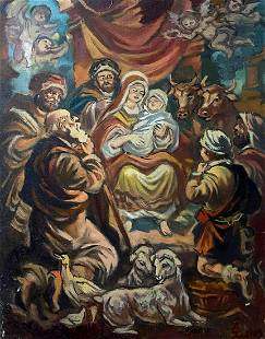 Oil painting Christmas Alexander Arkadievich Litvinov