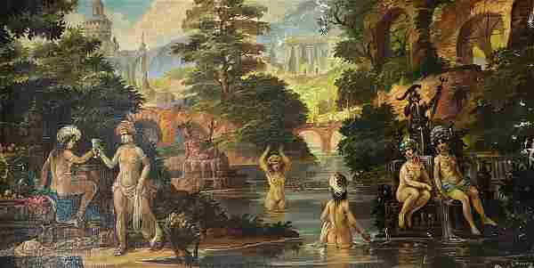 Oil painting Bathers Alexander Arkadievich Litvinov