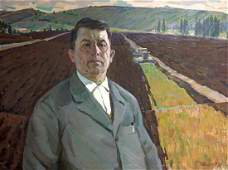 Social realism oil painting Portrait of a man Chvala