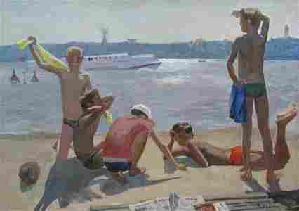 Oil painting In Hydropark Chichkan Leonid Illich