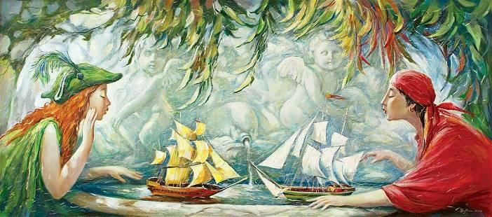 Oil painting Naval battles Titinin Yurii
