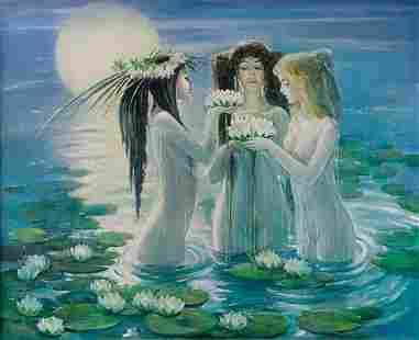 Oil painting Mermaid Night Titinin Yurii