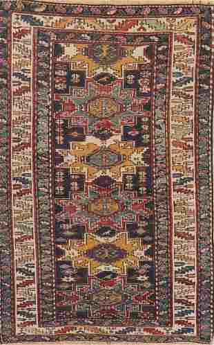 Pre-1900 Antique Vegetable Dye Caucasian Area Rug Wool