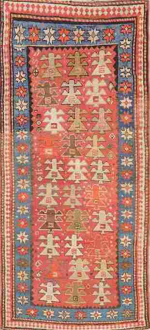 Pre-1900 Antique Vegetable Dye Kazak Caucasian Rug 3x7