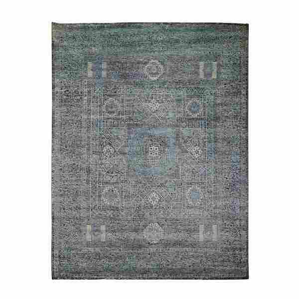 Silk With Textured Wool Hi-Low Pile Mamluk Design Hand