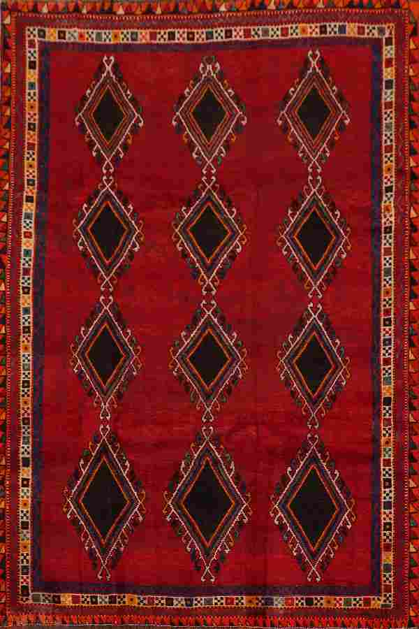 Antique Red Geometric Shiraz Persian Area Rug 5x8
