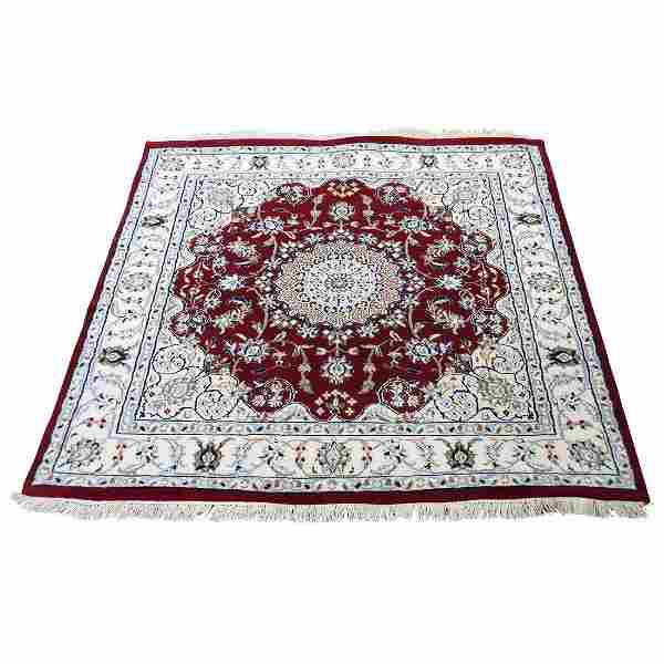 Wool And Silk 250 Kpsi Red Square Nain Hand-Knotted