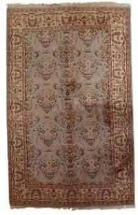 Handmade vintage Indo-Tabriz rug 4.1' x 6.1' (126cm x